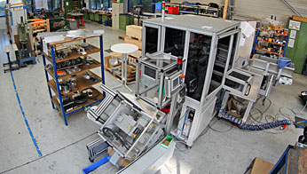 Assembly of a packaging machine before final inspection in the assembly shop